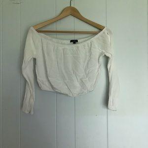 Cream Off Shoulder Flowy Crop Top with Arm Slits